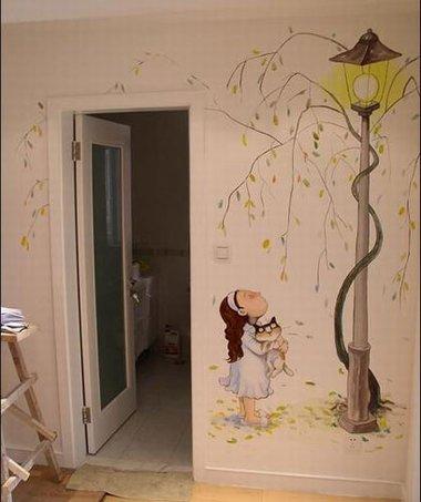 手绘墙教你如何绘制一个树的剪影