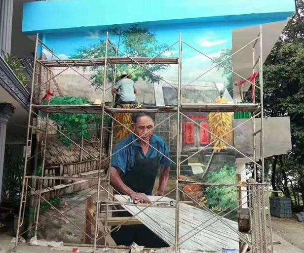 南昌手绘背景,南昌室内墙绘,南昌美丽乡村文化墙彩绘