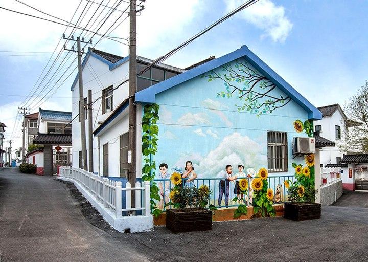 南昌墙面涂鸦,南昌室外墙体喷绘,南昌彩绘古建